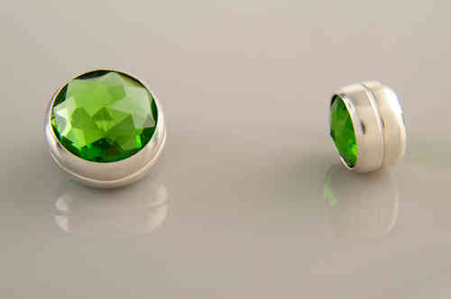 Magnet Set Crystal Light Green Silver