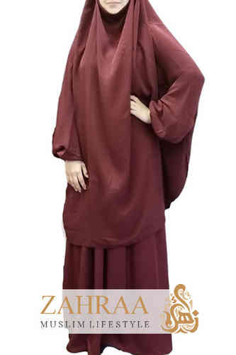 Jilbab Fatima Dark Red (Khimar & Skirt)