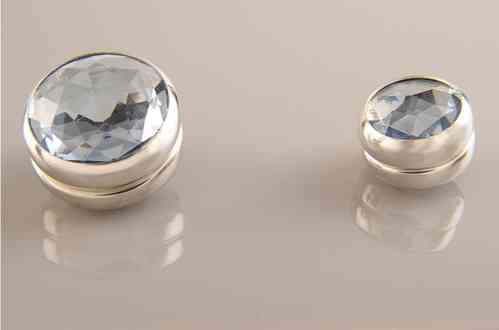 Magnet Set Crystal Light Blue Silver