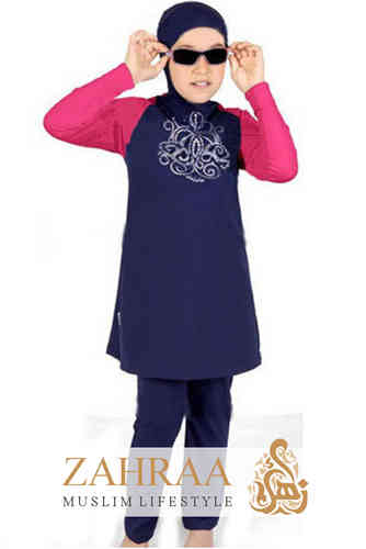 Girl Burkini Blue+Pink