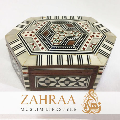 Wooden Box Oriental Hexagonal Elongated