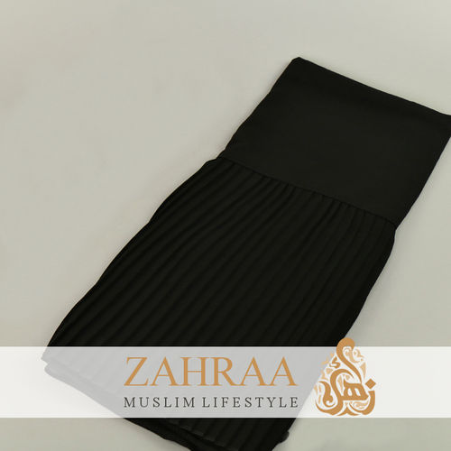 Shawl Chiffon Pleating Edge Black