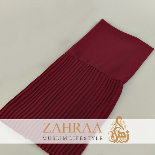 Shawl Chiffon Pleating Edge Dark Red
