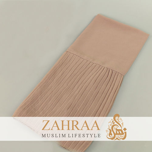 Shawl Chiffon Pleating Edge Dark Light Taupe