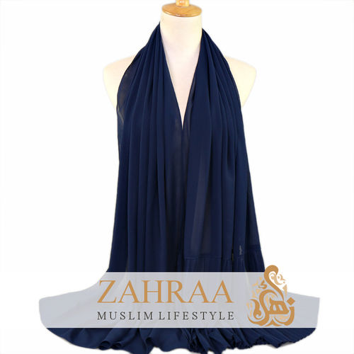 Shawl Chiffon Pleating Edge Dark Blue