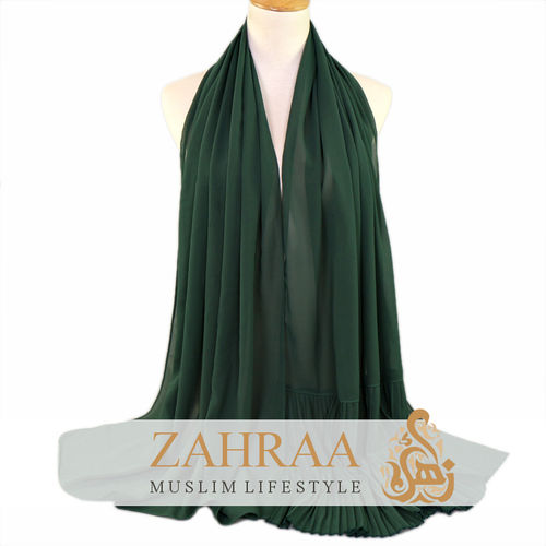 Shawl Chiffon Pleating Edge Dark Green