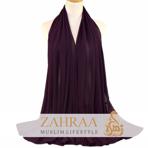 Shawl Chiffon Pleating Edge Dark Purple