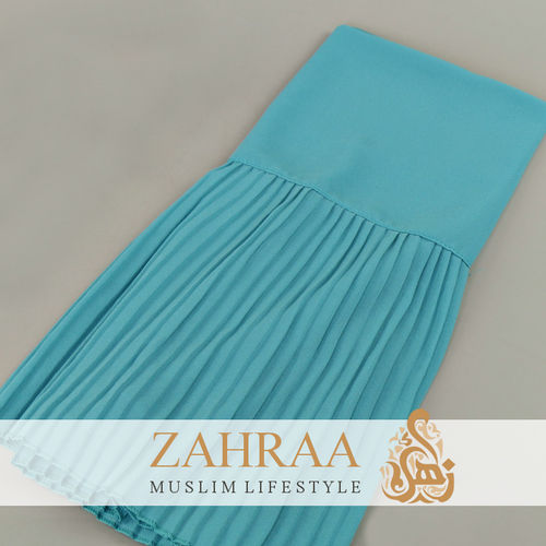 Shawl Chiffon Pleating Edge Turquoise