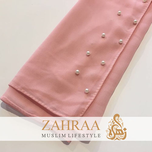 Shawl Chiffon Beaded Edge Light Pink