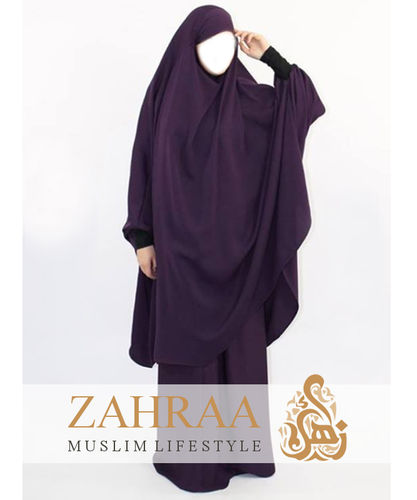 Jilbab Ramia Jersey Headband  Dark Purple (Khimar & Skirt)