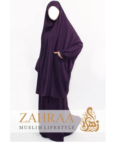Jilbab Farida Dark Purple (Khimar & Skirt)