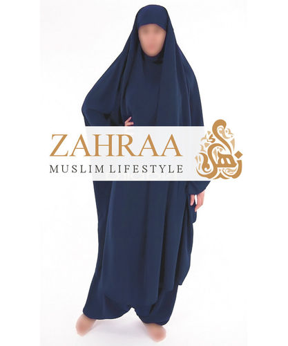 Jilbab Maryam Serwal Dark Blue (Khimar & Pants)