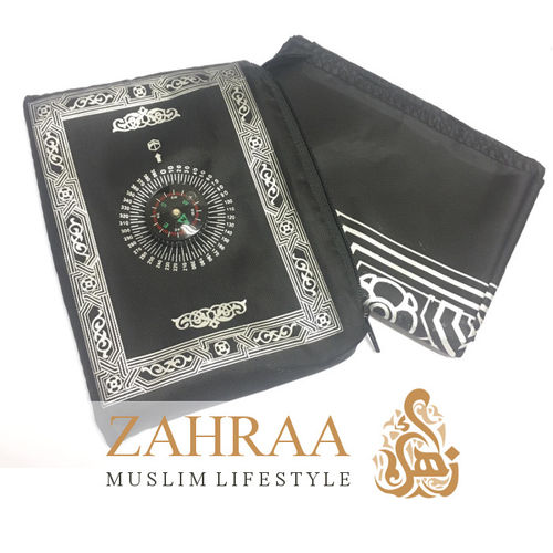 Travel Prayer Mat & Compass Black