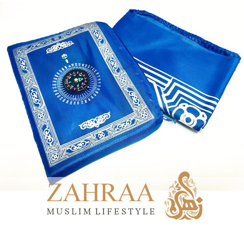 Travel Prayer Mat & Compass Royal Blue