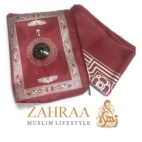 Travel Prayer Mat & Compass Dark Red
