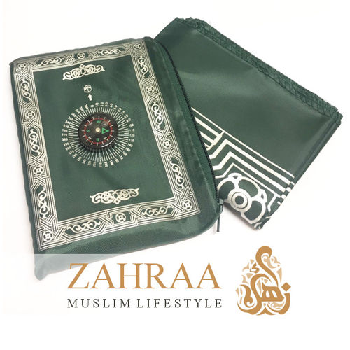Travel Prayer Mat & Compass Dark Green