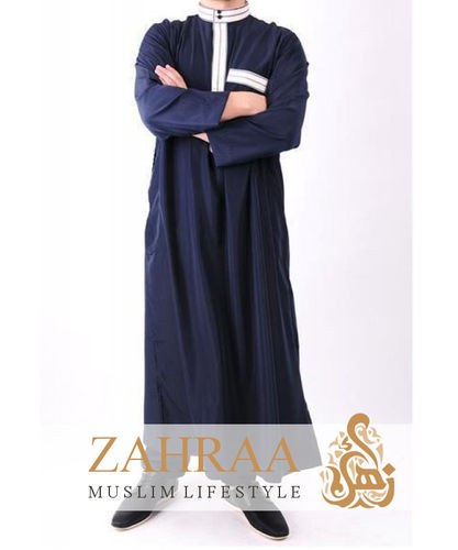 Qamis Men Longsleeve with Pants Dark Blue