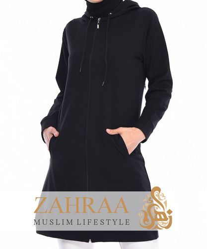 Long Hoodie Jacket Black