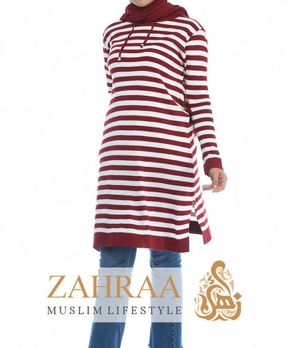 Long Hoodie Stripes Red S/M