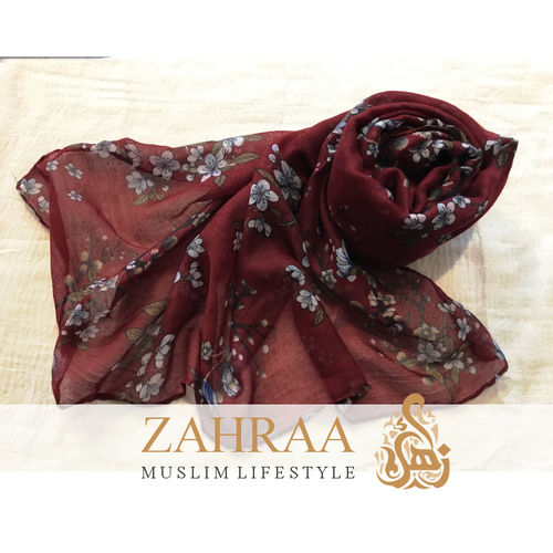 Flowers Scarf Red