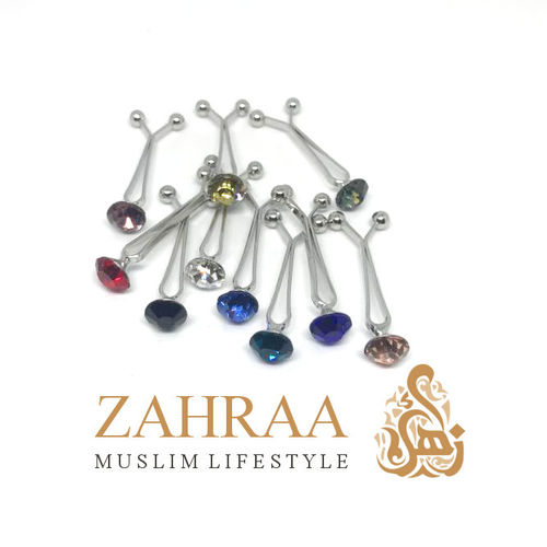 Hijab Clasp Crystal 1 Piece Different Colors