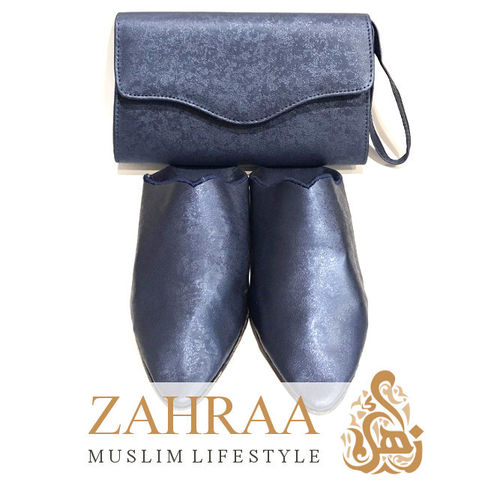 Babouche Dark Blue with Clutch Size 36/37