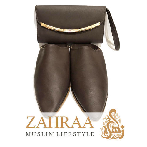 Babouche Dark Brown with Clutch Size 37/38