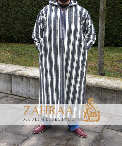 Moroccan Men Djellaba White / Grey