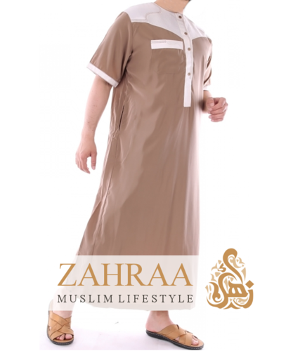 Qamis Men Shortsleeve Taupe/Cream