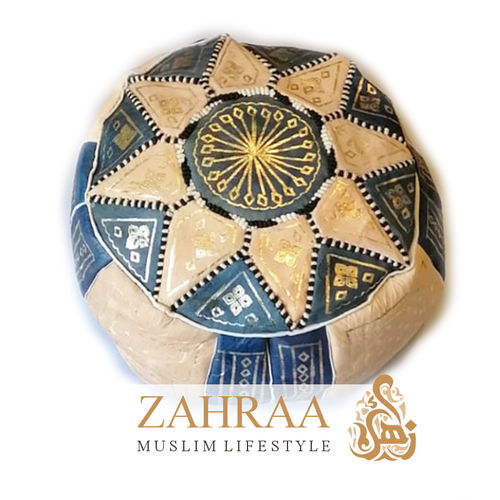 Moroccan Leather Pouf Blue/Beige