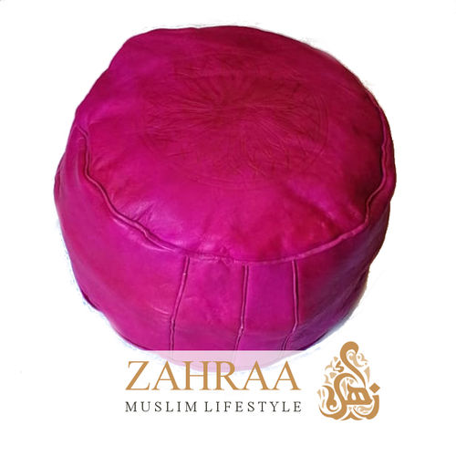 Moroccan Leather Pouf Pink