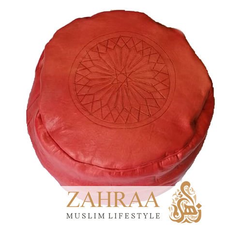 Moroccan Leather Pouf Red