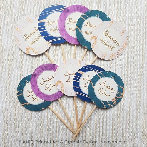 "Ramadan Partypicker 10 Stück Cupcake Topper ""Smaragd Collection"""