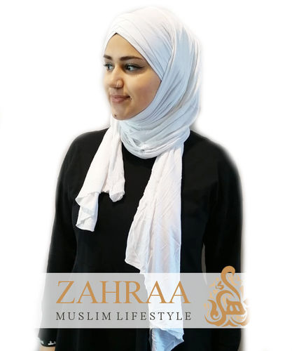 Wickelhijab Triple Cross Jersey Weiß