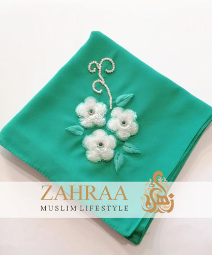 Shawl Chiffon Emerald Embroidered By Hand