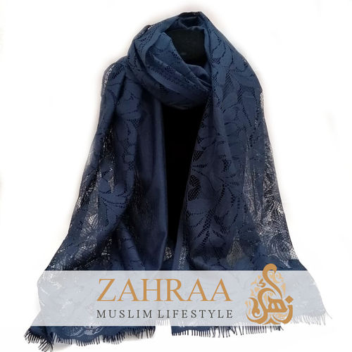 Scarf Flower Lace Navy